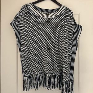 Lou & Grey Navy Knit Poncho. Brand New, Tags On.